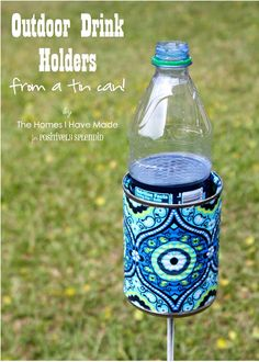Positively Splendid {Crafts, Sewing, Recipes and Home Decor}: Outdoor Drink Holder Tutorial.this could really come in handy : Positively Splendid {Crafts, Sewing, Recipes and Home Decor}: Outdoor Drink Holder Tutorial.this could really come in handy Fun Crafts, Diy And Crafts, Arts And Crafts, Soup Can Crafts, Decor Crafts, Diy Yard Decor, Crafts Cheap, Tin Can Crafts, Holiday Crafts