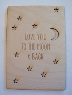 Personalized Valentine's Day Card-Birthday Card- Christmas Card- Anniversary Card-Laser Cut Wood Card-Love you to the moon and back by ImpactEngraving on Etsy