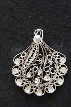 unique pendant  silver filigree