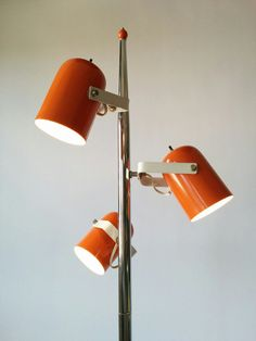 1970 BURNT ORANGE 3 rotating heads floor lamp 63 by VINTAGELAMPDEN