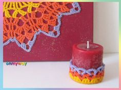 Mandala häkeln & Kerzen-Deko häkeln - Häkelbild selber machen Crochet Earrings, Candle Decorations, Painting Canvas, Easy Mandala, Threading