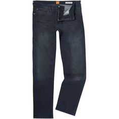 Hugo Boss Orange 24 Regular Fit Navy Jeans (220 CAD) ❤ liked on Polyvore featuring men's fashion, men's clothing, men's jeans, men jeans, old navy mens jeans, mens straight leg jeans, mens jeans and mens regular fit jeans