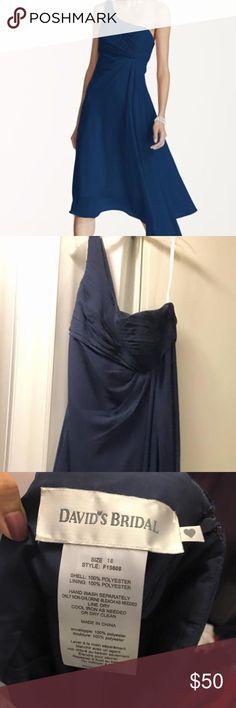 David's Bridal Bridesmaids Dress • Used once • $50/OBO • Size 18 • Marine Blue David's Bridal Dresses One Shoulder