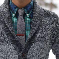 Shawl collar sweater & plaid shirt & a tie