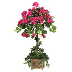Bring nature-inspired beauty to your sunroom or den with this eye-catching faux bougainvillea tree, showcasing pink and green hues.   Pr...