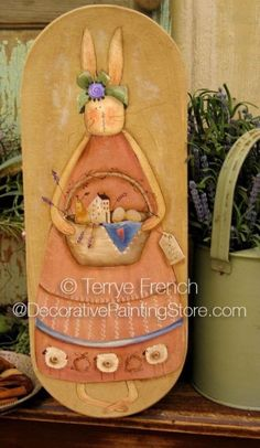 The Decorative Painting Store: Simplify Bunny Pattern by Terrye French -  Newly Added Painting Patterns / e-Patterns - Prim bunny painted on oval box lid