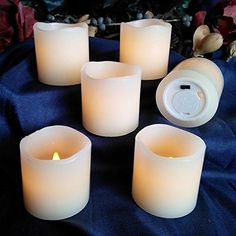 Flameless LED Battery Powered Candles ~ Set of Six Real Wax Votives, Ivory Color, Flickering Unscented Candles $16