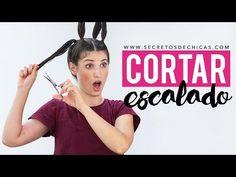 Cómo cortar el cabello escalado con 4 coletas | Hazlo tu misma - YouTube