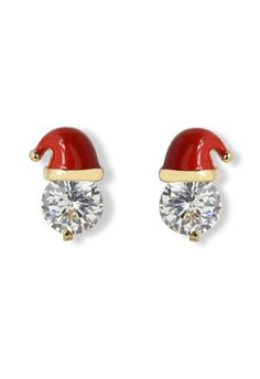 Crystal Christmas Cap Earrings--so cute, they would be 100 times better if they were diamonds!!