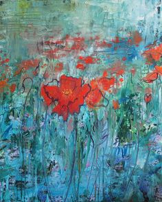 Annie Flynn. Field of Poppies on Blue