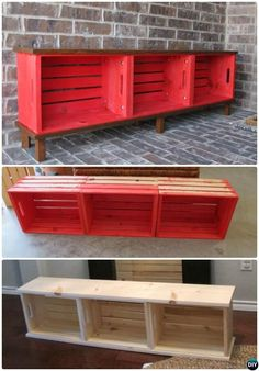Diy Commotion saved to Woodworking Projects Wood Crate Entry Bench Best Entryway Bench DIY Ideas Projects Smart Woodworking Bench Projects You Can Do Best Entryway Bench DIY Ideas Projects [Picture Instructions] New Built or Repurposed Ent Wood Crate Furniture, Wood Crates, Furniture Ideas, Smart Furniture, Milk Crates, Diy Entryway Furniture, How To Paint Wooden Crates, Wood Crate Diy, Bedroom Furniture