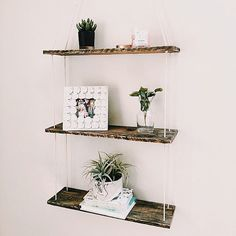 Three Tiered Hanging Shelf Pallet Wood Shelf Swing Shelf
