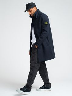 STONE ISLAND BOILED WOOL PEACOAT - NAVY - GENTRY NYC - 2