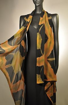 """""""Tortoise Shell Willow Vest"""" created by Michael Kane & Steve Sells  (hand-dyed silk chiffon; dye pattern is a result of the process known as Itajimi Shibori)"""