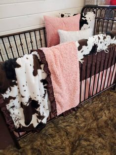 Girl Crib Bedding Sets, Girl Cribs, Western Baby Girls, Woodland Baby Bedding, Black Crib, Cow Nursery, Baby Cows, Baby Room Design, Nursery Themes
