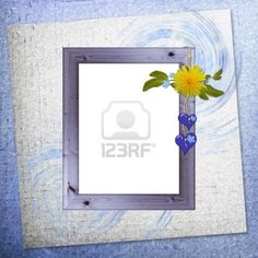 background with frame and flowers Stock Photo