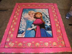 Elsa and Anna Quilt 50 x 58 Done in Pinks by TheKingsQuiltShop