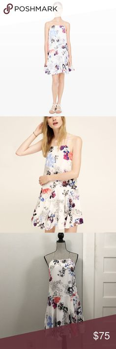 Club Monaco Carwyn Floral Dress Used once for a bridal brunch. No flaws that I noticed. Flattering neckline with a float bottom cute for twirling the night away. Perfect for your next event. Club Monaco Dresses