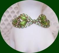 Vintage Gold tone Peridot Green Rhinestone Bracelet.