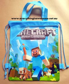 New Minecraft Steve Library Bag Drawstring School Swimming - http://www.austree.com.au/ads/clothing-jewellery/bags-clothing-jewellery/minecraft-steve-library-bag-drawstring-school-swimming/26370/