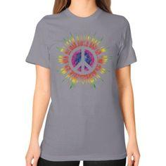 Tie Dye Peace Sign Unisex T-Shirt (on woman)