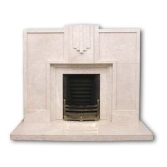 Keaton Art Deco marble fireplace Twentieth Century Fireplaces ❤ liked on Polyvore featuring home, home decor, fireplace accessories, geometric home decor, marble home decor and chevron home decor