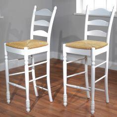 Kitchen - white seagrass bar stools