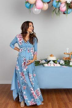 Blue Maxi Dress with Floral Sash and Tie - Baby Shower Dress - . - Blue maxi dress with floral sash and tie – baby shower dress – - Maternity Dresses For Baby Shower, Cute Maternity Outfits, Maternity Maxi, Stylish Maternity, Maternity Fashion, Baby Shower Outfits, Maternity Nursing, Blue Baby Shower Dress, Baby Shower Dress Winter