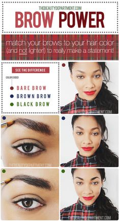 Our rule of thumb for brow color! Click on the picture for our favorite brow shades for each hair color!