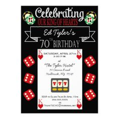 casino party invitations | love the casino theme for this special 70th birthday party invitation ...