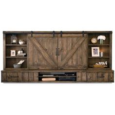 Entertainment cabinet with doors farmhouse barn door entertainment center floating stand spice entertainment stand with sliding Tv Stand And Entertainment Center, Entertainment Center Decor, Living Room Tv, Living Room Remodel, Kitchen Remodel, Farmhouse Interior, Interior Barn Doors, Farmhouse Furniture, Kitchen Furniture