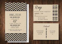 Tribal Chevron Bohemian Kraft Paper Wedding Invitation Suite Simple Simon DEsign