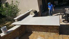 Design that stylish patio your neighbors will talk about! Custom one-piece countertop for patio in Roxbourgh Park by E and C Precast Concrete. Front Range, Precast Concrete, Ping Pong Table, Countertops, Patio, Stylish, Design, Home Decor, Vanity Tops