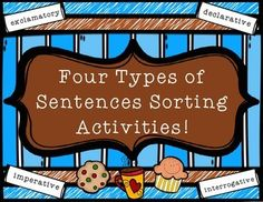 4 Types of Sentences Sorting Activities - grades 3-5 4 Types Of Sentences, Chocolate Popcorn, Sorting Activities, Cut And Paste, Morning Work, Grade 3, Literacy Centers, Love Reading, Teacher Newsletter