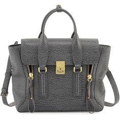 3.1 Phillip Lim Pashli Medium Leather Satchel Bag ($1,045) ❤ liked on Polyvore featuring bags, handbags, genuine leather purse, genuine leather handbags, leather satchel purse, satchel purses and kiss-lock handbags