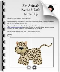 Zoo animals heads & tails match-up printable