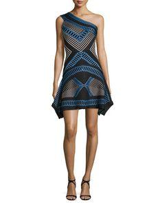 One-Shoulder+Flutter-Hem+Jacquard+Dress,+Black+Combo+by+Herve+Leger+at+Neiman+Marcus.