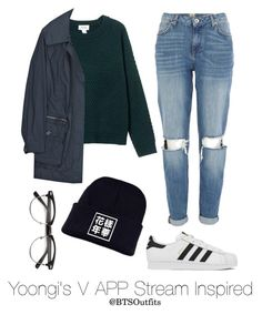 """Yoongi's V App Stream Inspired"" by btsoutfits ❤ liked on Polyvore featuring Monki, Burberry, River Island and adidas"