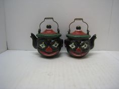 Vintage Black Americana Clown Elf Teapot Salt and Pepper Shaker Set Wire Handle - $90