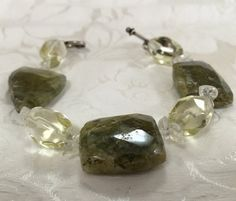 Faceted Opal Bracelet. Handmade semiprecious stones FREE SHIPPING  by MonteforteDesigns on Etsy