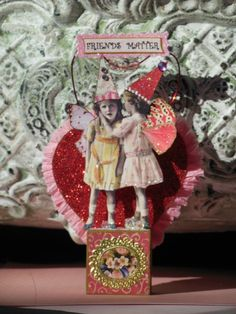 Altered Art Fairy Valentine OOAK Handmade Pixie Mixed Media Paper Collage Pixies | eBay