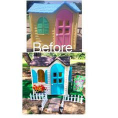 My own before and after Little Tikes playhouse cottage makeover! My own before and after Little Tikes playhouse cottage makeover! Little Tikes House, Little Tikes Playhouse, Plastic Playhouse, Build A Playhouse, Playhouse Ideas, Backyard For Kids, Diy For Kids, Kids Fun, Backyard Ideas