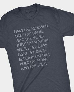 """Super soft navy tee with a vintage design """"Love Like Jesus"""" Description This item is Unisex and runs true to size. Heather Navy tee with vintage white design. Christian Clothing, Christian Shirts, Christian Apparel, Patron Vintage, Cute Shirt Designs, Jesus Shirts, Vinyl Shirts, Personalized T Shirts, Vintage Design"""