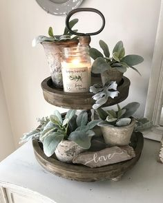 Loving that it's staying lighter later! Spring is right around the corner Happy Thursday! Loving that it's staying lighter later! Spring is right around the corner Happy Our, Diy Home Decor, Room Decor, Tray Styling, Moraira, Tiered Stand, Tray Decor, Farmhouse Chic, Rustic Decor