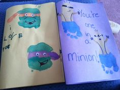 Handprint Ninja Turtles and Footprint Minions Fathers Day cards