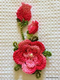 How to Knit Flower Bud? Crochet Cactus, Freeform Crochet, Knit Or Crochet, Irish Crochet, Crochet Motif, Crochet Stitches, Knitted Flowers, Crochet Flower Patterns, Flower Applique