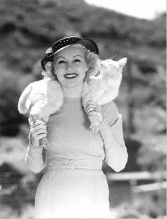 Betty Grable with her cat Whitey