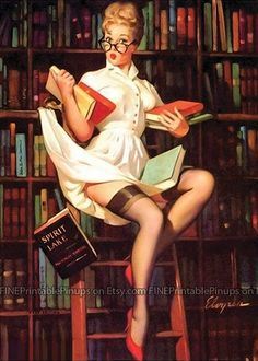 blonde librarian pinup vintage library books reading glasses eye stockings ladder pinup pin up vintage classic old retro illustration drawing painting girl woman pretty sexy vargas elvgren art artist hair dress 50s 40s 30s 20s 60s 70s 1920 1930 1940 1950 1960 1970 300dpi printable quality