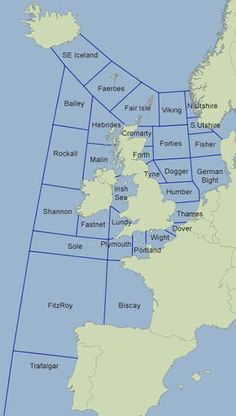 Map showing Shipping Forecast areas issued by Met Office Ireland Map, Ireland Travel, Map Of Great Britain, Shipping Forecast, Boat Navigation, London Map, Old Maps, Historical Maps, World Maps