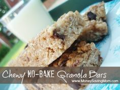 Chewy No-Bake Granola Bars - literally made these in 5 minutes. Delish & as natural as you want to make them ;o)